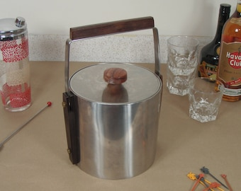 Vintage Cultura Stainless Steel Ice Bucket w/ Rosewood Handles - Made in Sweden