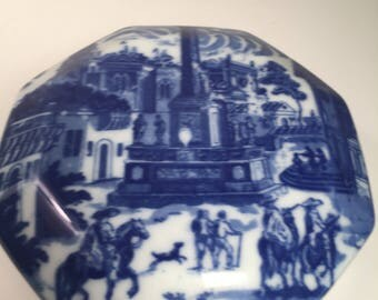 Blue White Transferware Octogonal Covered Dish Box