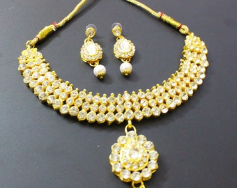 Indian Traditional Jewellery Women Necklace Goldtone White Pearl Jewelry Gift For Her Wedding Collection Long Necklace Fashion Jewelry