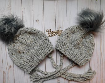 Mommy and Me matching hats with ear flaps.Mom and daughter hats. Mom and son matching hats. Neutral matching hats. winter hats with ear flap