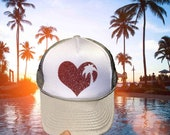 Best selling palm tree heart trucker hat. All sizes are snapback- verify size in description before ordering!
