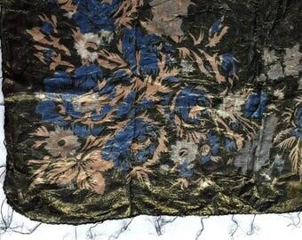 Black Metallic Scarf,Black Hippie Scarf,Sheer Black Scarf,Black Flower Scarf,Black Pattern Scarf,Black Floral Scarf,Oversize Black Scarf