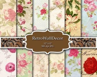 30%OFF Floral Digital Paper Pack , Vintage Floral Backgrounds , Vintage Roses Decoupage Digital , Flowers Papers 8.5x11 in Buy 2 Get 1 FREE