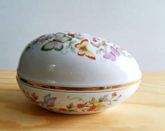 Fine Porcelain Egg Trinket Box 22K Gold Trim Vintage Butterflies and Flowers Avon 1979