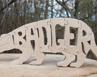 Badger ornament, wooden Badger, Badger puzzle, woodland Badger, Badger gift, badger lover gift, woodland animal, unique badger gift,
