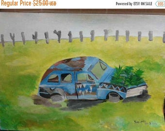ON SALE -15% OFF old car painting, Contemporary painting,Original artwork,A3 Size,Acrylic painting,Original artwork,Old car painting,Home de