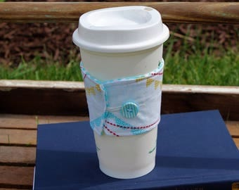 Reusable Coffee Cup Cozy, Coffee Cup Cozy Summer Bunting Fabric, Cup Cozy, Teacher Gift, Gift Idea, Coffee Cup Sleeve, Fabric Cup Cozy