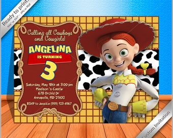 50% OFF SALE- Jessie Cowgirl Birthday Invitation, Jessie toy story Invitation, Printable Jessie cowgirl Party Invite, Free thank you card!