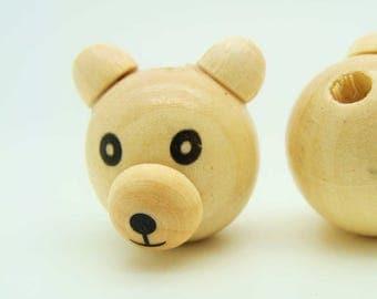 Perle ours tete ourson bois crème 29mm DIY création bijoux Loisirs créatifs