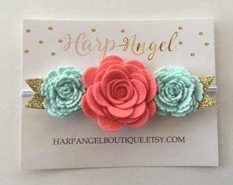 Coral Mint Gold 100% Wool Felt Flower Crown Headband Hair Bow or clip Newborn / Baby / Toddler / Girls / Adult
