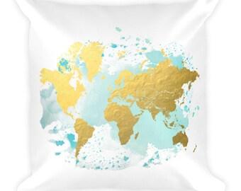 Travel Decor, Throw Pillow, World Map Decor, Travel Throw Pillow, Nursery, World Map Pillow, Map Decor, World Map, Home Decor, Travel Gift