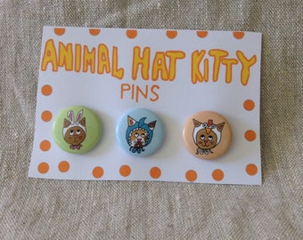 Animal Hat Cat Pin Set