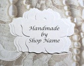 50 5 petal flower tags white tags w string handmade by tags custom tags large hang tags shop supplies price tags gift tags merchandise tags