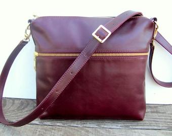 Leather bag Shoulder bag Women Leather purse Burgundy Handbag Gift for sister Birthday Gift for mom Gift for her Boho Crossbody