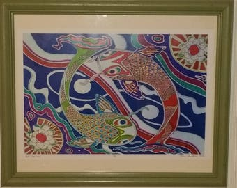 "Koi Fantasy"", an Original, Colorful, Detailed Drawing by artist Robin Sanders!"