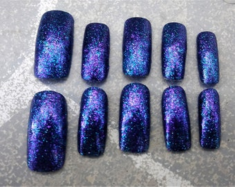 GLITTER SLUT - extra sparkly siren mermaid nails square tip gloss finish black base with blue and purple sparkle with glue included
