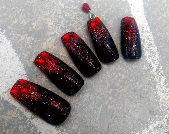BRIDE OF DRACULA - any shape false nails press on glitter dangle nails drag queen horror halloween cosplay costume gloss with glue included
