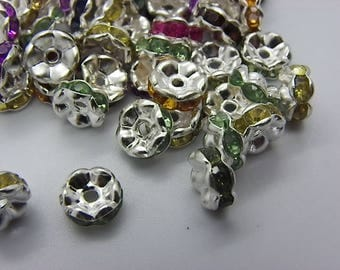 50 8 mm silver metal with beads multicolor spacer beads