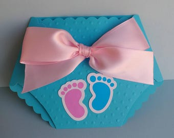 24 pcs. Gender reveal invitation. Diaper invitation. Baby shower invitation. Handmade gender reveal invitation