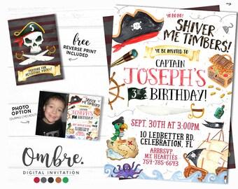 Pirate Invitation, Pirate Party, Pirate Birthday Invitation, Printable, Any Age