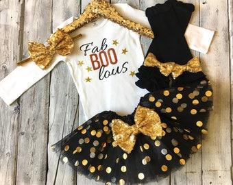 Girls Halloween outfit, baby girl halloween outfit, newborn outfit, FaBOOlous halloween outfit, girls halloween bodysuit, halloween shirt
