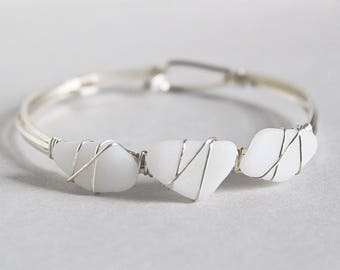Sea glass jewelry - white sea glass bracelet - cuff bracelet - silver bracelet - ocean glass bracelet - bridal bracelet - gift for her