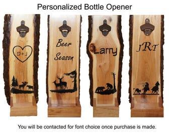 Beer Bottle Opener, Cap Catcher, Personalized Cap Catcher, Bottle Opener, Live Edge Cap Catcher, Rustic Bottle Opener, Cherry Wood Opener