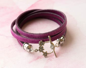 Leather bracelet, personalized leather bracelet, wrap leather bracelet, pink leather bracelet, sterling silver clasp, boho bracelet, custom