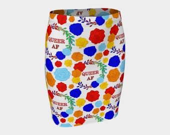 Queer AF - A Beautiful Rainbow Floral Pride Print - Pencil Skirt - Rainbow Roses on White