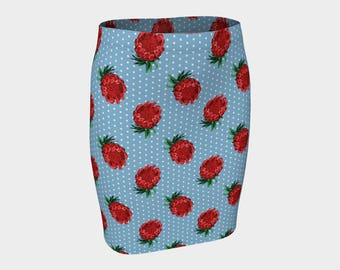 Beautiful Australian Native Floral Print - Gorgeous Protea and Polka Dots  - Fitted Skirt - Pencil Skirt