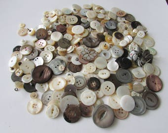 Vintage Lot Mother of Pearl Buttons MOP Buttons