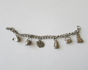 Vintage Silver Charm Bracelet Money Bag Purse Indian Chief