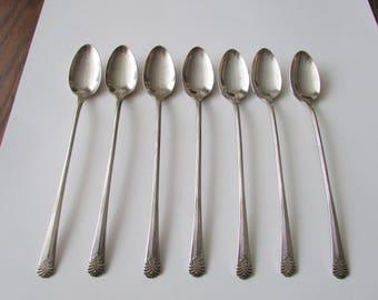 7 Vintage Vogue Ice Tea Spoons Silverplate Silver Plate Iced Tea Spoon