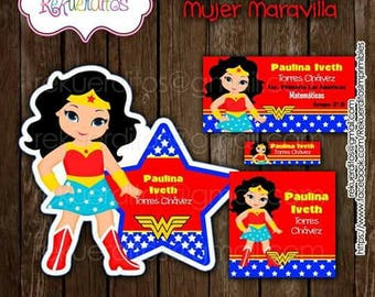 Woman wonder Kit editable printable school labels