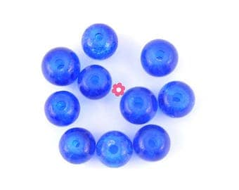 x 50 round beads 6mm blue Crackle Glass (04 c)