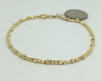 18K Yellow Gold Diamond Cut Bead Bracelet