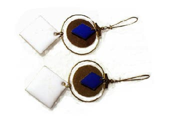 Bronze earrings, blue and white sequins