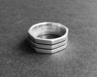 Octagonal silver band - handmade in Cairo