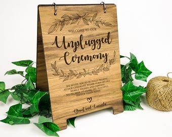 A4 Wooden Sign - Welcome to our Unplugged Ceremony