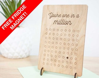 One in a million wooden gift card. Perfect for friendship, love, farewell, or birthday. Hand made timber card.