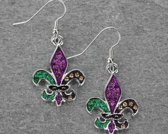 Fleur De Lis Mardi Gras Earrings Silver