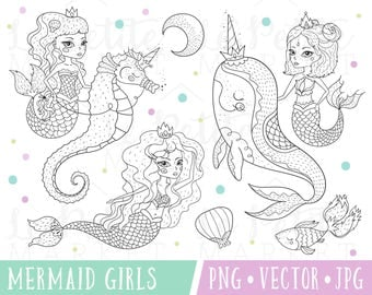 Pretty Mermaid Clipart Images Cute Set Illustrations With