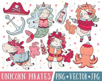 Pirate Unicorn Clipart Images, Kawaii Unicorn Pirates, Valentine Unicorn Pirate Clipart, Cute Pirate Clip Art, Cute Unicorn Clipart PNG