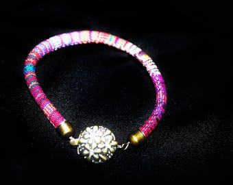 Pink Round Woven Cord Bracelet with round Antique Brass Box clasp