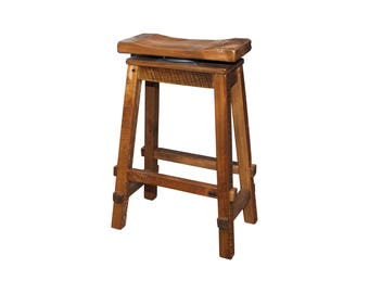 Rustic Reclaimed Barn Wood Swivel Saddle Stool in Counter or Bar Height - Model# RC527/528 - Amish Made in the USA - Free Shipping!