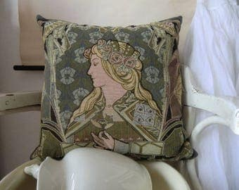 Tapestry Cushion cover in vintage Art Nouveau decor pillowcase