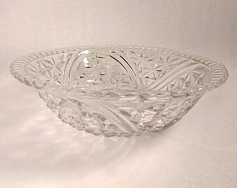 Antique Deep Cut Glass Serving Bowl