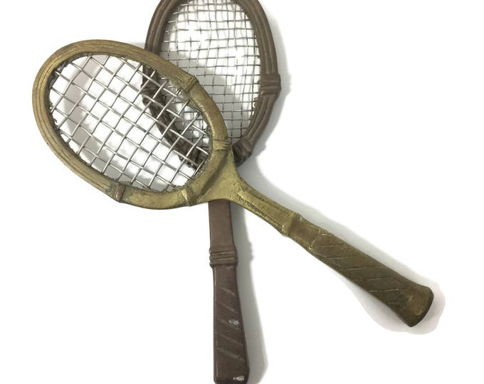 Vintage Brass Tennis Racket Decor