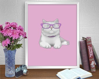 Pink wall art decor, pink cat gift, cat pink gift, pink cat decor.