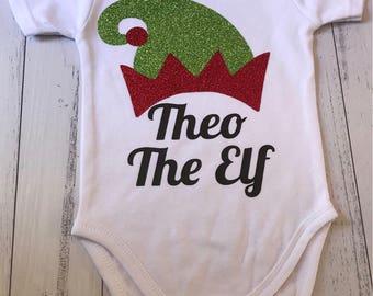Elf onesie, personalised top, christmas romper, baby elf onesie, personalized